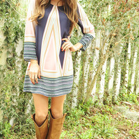 Cross Over Dress: Navy/Pink | Hope's