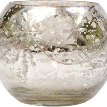Silver Mercury Glass Candle Holder (globe design)