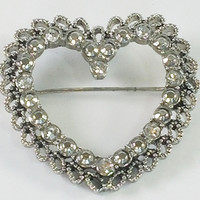 Marcasite and Rhinestone Heart Brooch
