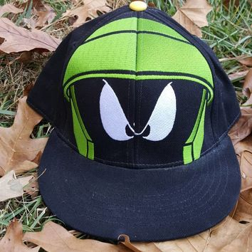 Vtg Marvin the Martin Looney Tunes Fitted cap size L XL Cartoon Tune Squad hat Space Jam Warner Bros.