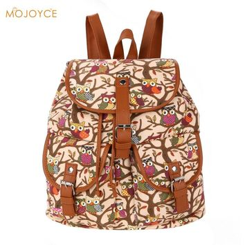 Cute Cartoon Owls Pattern Women Canvas Backpack 2017 Graffiti Owl  Schoolbag Book Bag for Teenager Girls Kid School Bags Bagpack