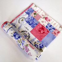 Baby blanket baby girl patchwork stroller blanket coverlet car seat quilt play mat in pink and blue floral fabrics with micro fleece backing