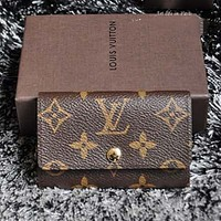 LV Louis Vuitton men and women tide printing canvas key bag F