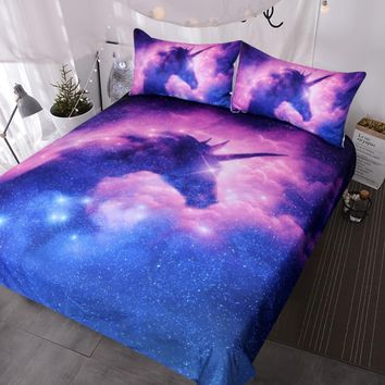 BlessLiving Galaxy Unicorn Bedding Set Kids Girls Psychedelic Space Duvet Cover 3 Piece Pink Purple Sparkly Unicorn Bedspread