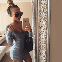 Hot Sale V-neck Long Sleeve Women's Fashion One Piece Dress [8077546433]