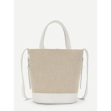 White Two Tone Crossbody Bag With Handle