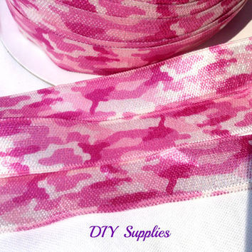 5 yards 5/8 Pink Camo fold over elastic - FOE - Wholesale headband supplies - DIY Supplies  - baby headband elastic