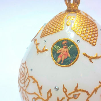 No.4 - Angel Rose - Hand Painted Faberge Style Glass Egg *FREE SHIPPING WORLDWIDE*