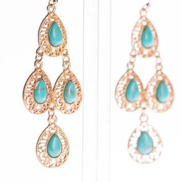 Native Chandelier Earrings, Gold