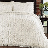 Full Size Cotton Chenille Bedspread with Flower of Life Pattern in Ivory