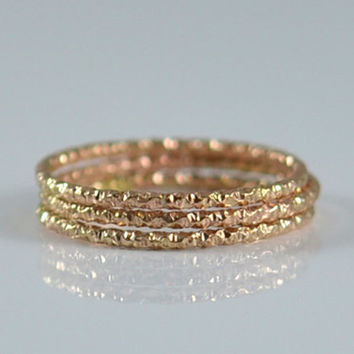 Single 14K Gold Fill Stacking Ring - Rose Gold or Yellow Gold Faceted Stack Rings Made in your size