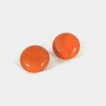 "Vintage BAKELITE Earrings / 40s - 50s HUGE 1 1/2"" Pumpkin Orange Marble Swirl Button Clips"