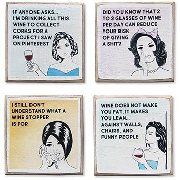 4 Funny Wine Coasters Set amp Holder Rustic Wood with Funny Sayings amp Quotes Great Wine Gift Accessories to Protect Bar Tables for Wine Lovers by Zumatico