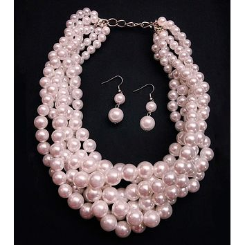 Cream Pearl Graduated Multi Strand Twist Necklace Set