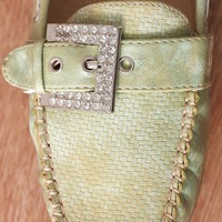Natures Breeze Rep Your Steps Rhinestone Buckled Metallic Sheen Loafers Mindie-20 - Green