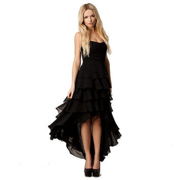 Chiffon strapless, Europe and the United States party dress