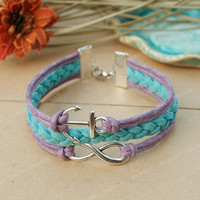 Anchor bracelet- blue and purple infinity bracelet with anchor for friends, gift for girlfriend
