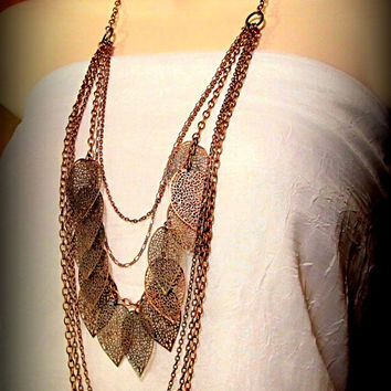 Long and Dramatic Leaves and Chains Necklace in Antique Copper