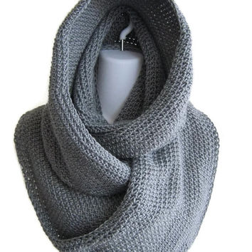 Grey Scrolling Infinity Scarf Cowl