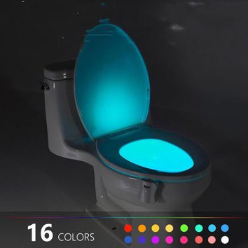 8 or 16 Colors Human Motion Sensor Toilet Light Bathroom Accessories Night Light