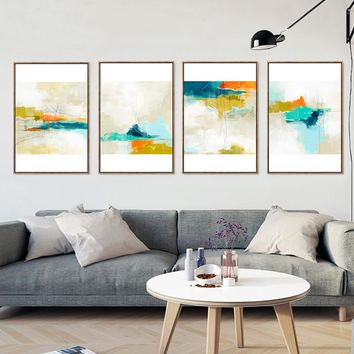 Abstract Sky Canvas Painting Multi Color Clouds Poster Prints Nordic Pop Wall Art Pictures For Living Room Home Decor No Frame