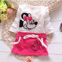 Mickey & Minnie girl clothing dress 100% cotton baby clothing baby girls dress