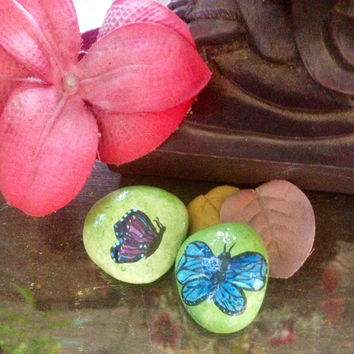 Set of 2- Butterfly, painted rocks, stones, hand painted, sea rock, gift