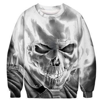 Skeleton 3d Print Long Sleeve Sweatshirt O Neck
