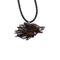 Mens Wolf Necklace, Wolf Pendant, Wolf Necklace, Wood Wolf Pendant Necklace, Wolf Totem, Mens Tribal Jewelry, Wolf Jewelry, Tribal Jewelry
