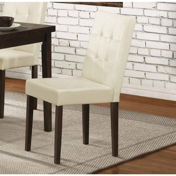 Wooden Side chair With Leatherette Upholstered Seat, Cream & Brown (Set of 4)