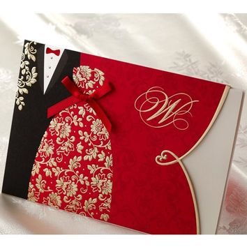 (10 pieces/lot) New Classic Bride And Groom Wedding Invitation Cards Red And Black Chinese Style Wedding Invitation Card CW1051
