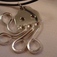 A Spoon Rings Plus Beautiful Fork Octopus Necklace Pendant on a black Cord Spoon an Fork Jewelry o23
