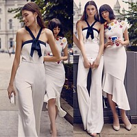 Halter Sleeveless High Waist Pure Color Wide-leg Long Jumpsuits