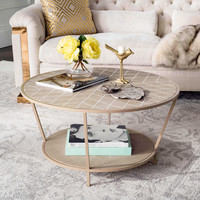 Safavieh Brielle Shagreen Round Coffee Table in Beige