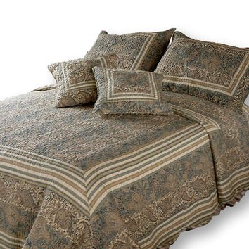 DaDa Bedding Paisley Paradise Warm Olive Bohemian Striped Cotton Quilted Bedspread Set (DXJ101873)