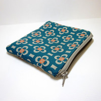Small Zipper Pouch - Flower in Orange, Taupe and Teal
