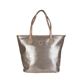"Women's Light Brown/Bronze Metallic Vegan Leather ""Laura Biagiotti"" Shopping Tote/Handbag"