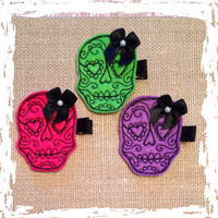 Sugar skull hair clip choose skne or set custom color options available