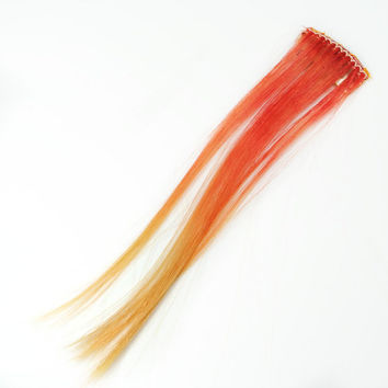Volcanic // Orange Human Hair Extension, Clip In Extension, Boho Hippie, Yellow extension, Short extension, Indie Hipster Emo Scene