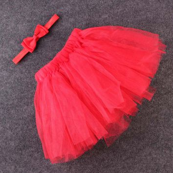 Baby Girl Tutu Skirt Cute Kids Princess Tulle Skirts Summer Children Party Flower Bow Newborn Photography Props Photo  #T026#