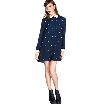 Navy Midnight Sleeve Collared Dress