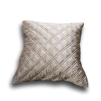 """DaDa Bedding Taupe Grey Velvet Quilted Euro Pillow Sham Cover, 26"""" x 26"""" (JHW831)"""