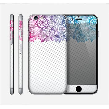 The Vibrant Vintage Polka & Sketch Pink-Blue Floral Skin for the Apple iPhone 6