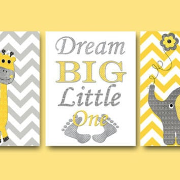 Children Room Decor Baby Boy Girl Nursery Quotes Dream Big Little One  Elephant Wall Art Giraffe