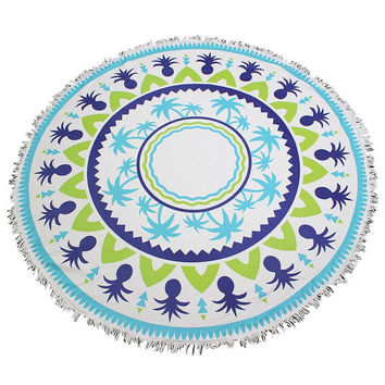 Fringed Jumbo Round Cotton Beach Towel with Tassels - Palm Trees