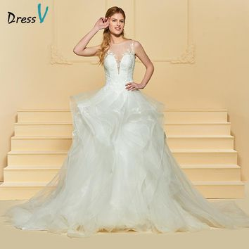 Dressv Ivory Long Wedding Dress Scoop Neck Sleeveless Tulle Court Train Button Ball Gown Lace Church Garden Custom Wedding Dress