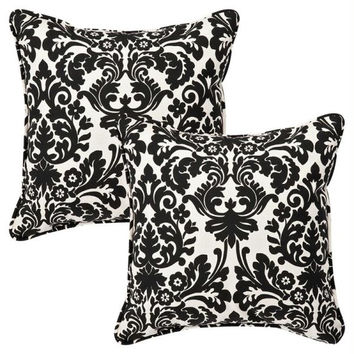 2 Cream And Black Damask Throw Pillows - Mildew, Weather And Fade Resistant