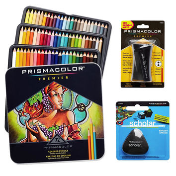 Prismacolor Colored Pencils Box of 72 Assorted Colors Triangular Scholar Pencil Eraser and Premier Pencil Sharpener