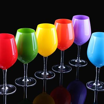 Fashion Creative  Color Wine Glass Cup  Or Kitchen And Bar Decoration (About Size: Height 210*Opening  Dia 70* Bottom Dia 80mm )