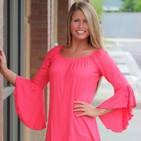 Pink Coconut Boutique | Solid Bell Sleeve Tie Top - Coral